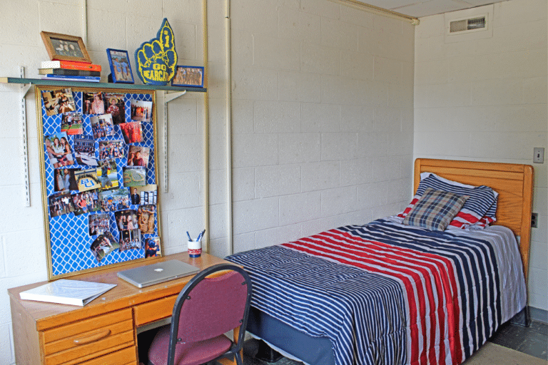 Inside of a single occupancy room inside Merici Hall. There is a bed, desk, and shelf.